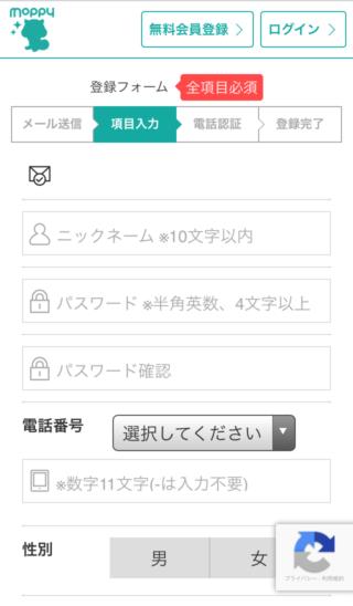 モッピー会員登録(06項目入力01)